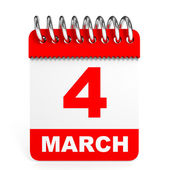 Calendar on white background. 4 March. — Stock Photo