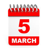 Calendar on white background. 5 March. — Stock Photo