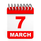 Calendar on white background. 7 March. — Stock Photo