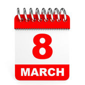 Calendar on white background. 8 March. — Stock Photo