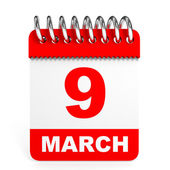 Calendar on white background. 9 March. — Stock Photo