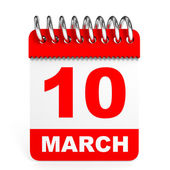Calendar on white background. 10 March. — Stock Photo