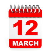 Calendar on white background. 12 March. — Stock Photo