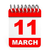 Calendar on white background. 11 March. — Stock Photo