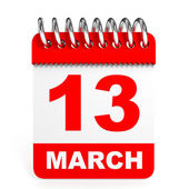 Calendar on white background. 13 March. — Stock Photo