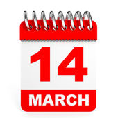 Calendar on white background. 14 March. — Stock Photo