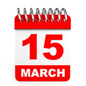 Calendar on white background. 15 March. — Stockfoto
