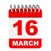 Calendar on white background. 16 March. — Stock Photo