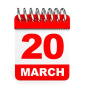 Calendar on white background. 20 March. — Stock Photo