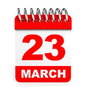 Calendar on white background. 23 March. — Stock Photo