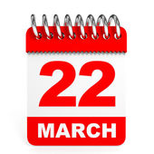 Calendar on white background. 22 March. — Stock Photo