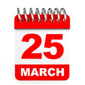Calendar on white background. 25 March. — Stock Photo