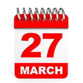Calendar on white background. 27 March. — Stock Photo