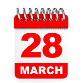Calendar on white background. 28 March. — Stock Photo