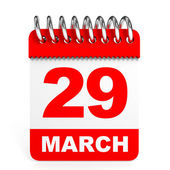 Calendar on white background. 29 March. — Stock Photo