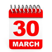 Calendar on white background. 30 March. — Stock Photo