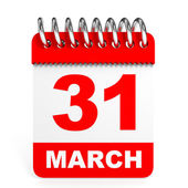 Calendar on white background. 31 March. — Stock Photo