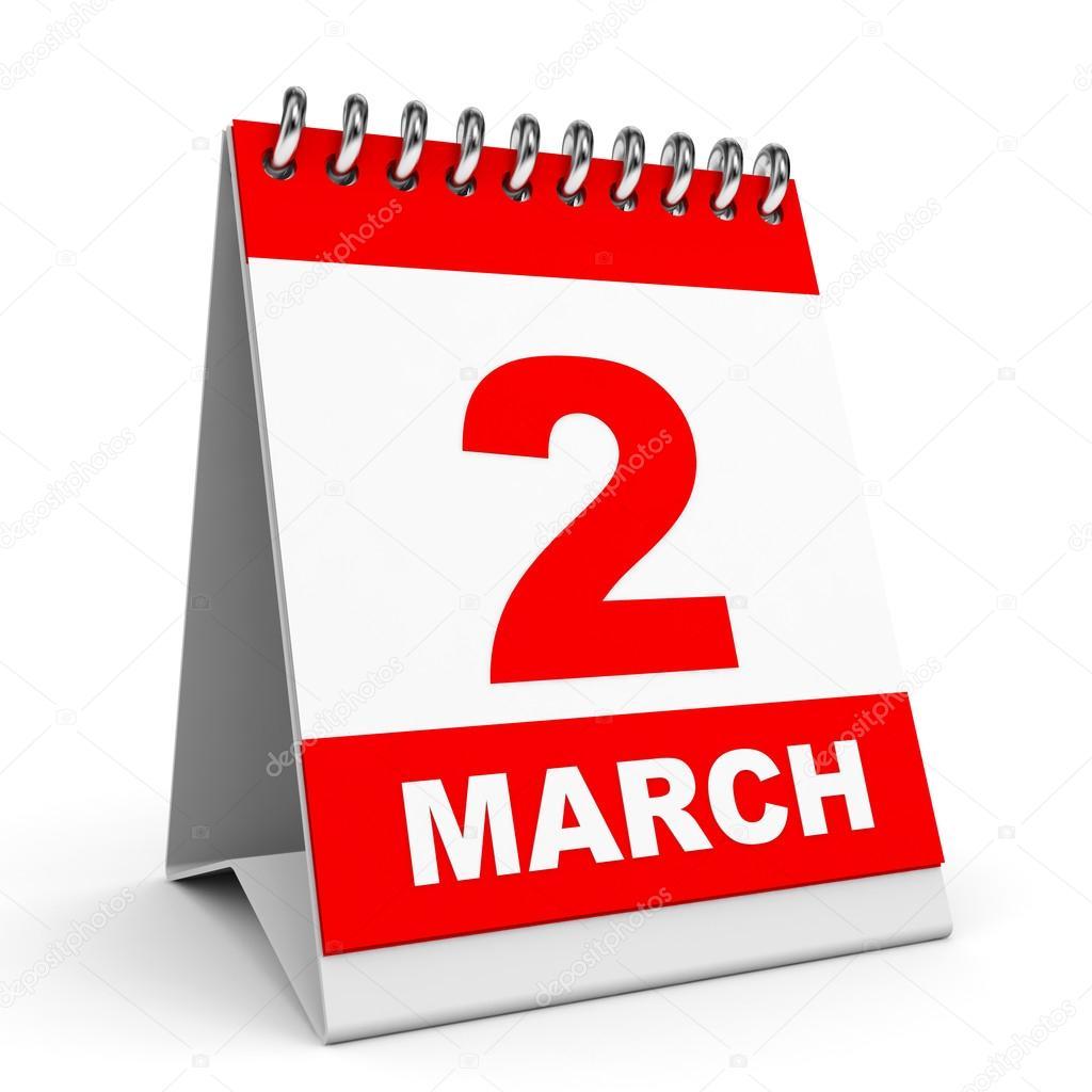 calendario 2 marzo foto de stock 44532799 depositphotos