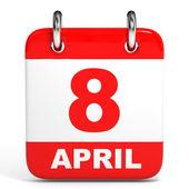 Calendar. 8 April. — Stock Photo