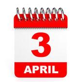 Calendar on white background. 3 April. — Stock Photo
