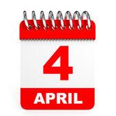 Calendar on white background. 4 April. — Stock Photo