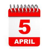 Calendar on white background. 5 April. — Stock Photo