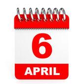 Calendar on white background. 6 April. — Stock Photo
