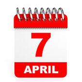 Calendar on white background. 7 April. — Stock Photo