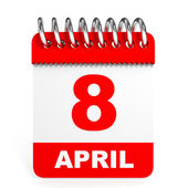 Calendar on white background. 8 April. — Stock Photo