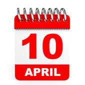 Calendar on white background. 10 April. — Stock Photo