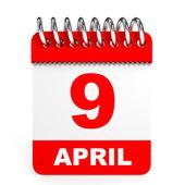 Calendar on white background. 9 April. — Stock Photo