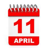 Calendar on white background. 11 April. — Stock Photo