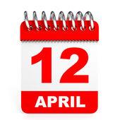 Calendar on white background. 12 April. — Stock Photo