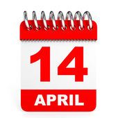 Calendar on white background. 14 April. — Stock Photo