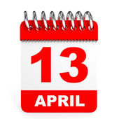 Calendar on white background. 13 April. — Stock Photo