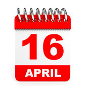 Calendar on white background. 16 April. — Stock Photo