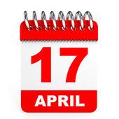 Calendar on white background. 17 April. — Stock Photo