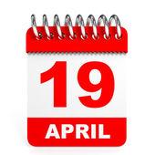 Calendar on white background. 19 April. — Stock Photo