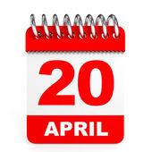 Calendar on white background. 20 April. — Stock Photo