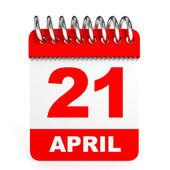 Calendar on white background. 21 April. — Stock Photo