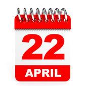 Calendar on white background. 22 April. — Stock Photo