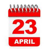 Calendar on white background. 23 April. — Stock Photo