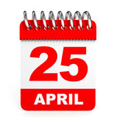 Calendar on white background. 25 April. — Stock Photo