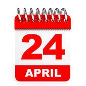 Calendar on white background. 24 April. — Stock Photo