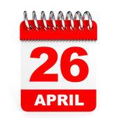 Calendar on white background. 26 April. — Stock Photo
