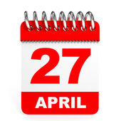 Calendar on white background. 27 April. — Stock Photo