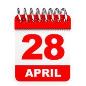 Calendar on white background. 28 April. — Stock Photo