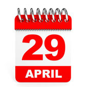 Calendar on white background. 29 April. — Stock Photo