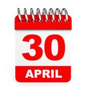 Calendar on white background. 30 April. — Stock Photo