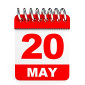 Calendar on white background. 20 May. — Stock Photo